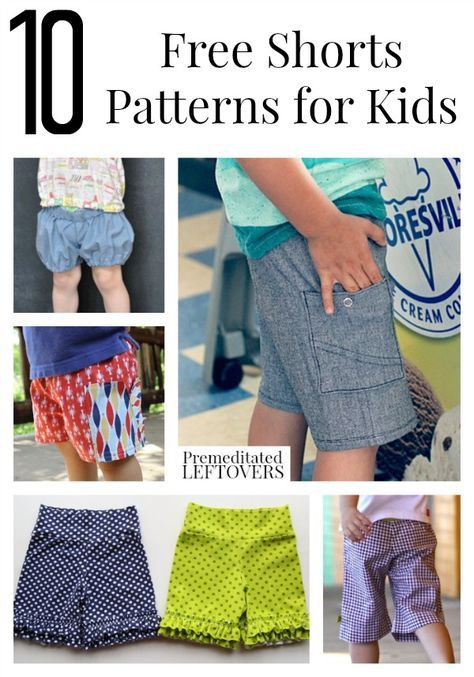 10 Free Shorts Patterns for Kids including patterns for shorts for toddlers, free kids capri patterns, and more free patterns for boys and girls shorts.