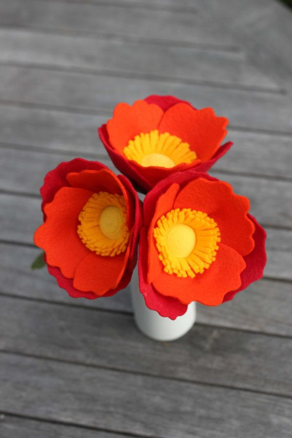 Felt Poppy Bouquet Fire Three Blooms by TheFeltFlorist on Etsy, $34.00