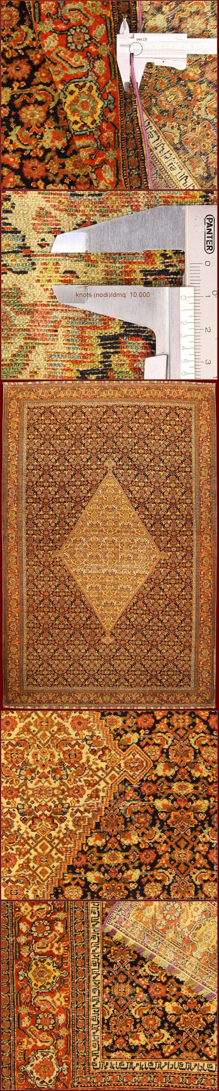 VERY RARE AND BEATIFUL ANTIQUE SEVEN COLOR SILK WARP SENNEH RUG