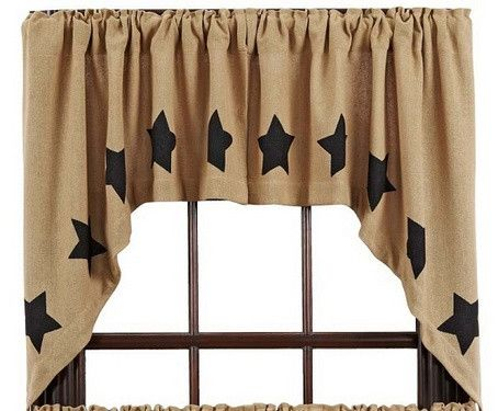 These sweet Burlap Natural Stencil Star Swag Curtains will be a good way to add a primitive country touch to your home. https://www.primitivestarquiltshop.com/products/burlap-natural-stencil-star-swag-curtains #countrystylecurtains