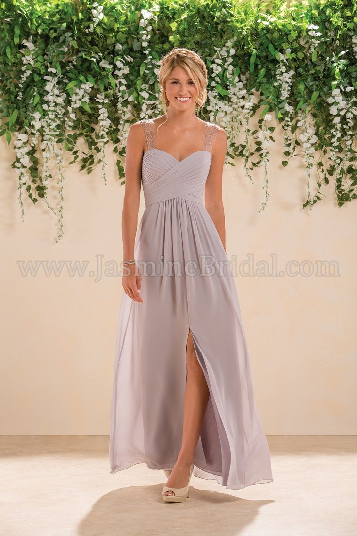 Jasmine Bridal Bridesmaid Dress B2 Style B183007 in Graphite, Light Purple //