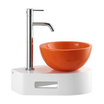 Compact White and white Håndvask 25 med vægkonsol i hvid porcelæn