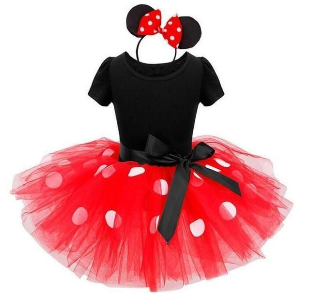 Baby Toddler Girl Minnie Mouse Polka Dot Tutu Dress 9 Months-4T - 2 Colors