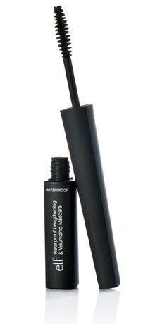 E.L.F.WATERPROOF VOLUMIZING& LENGHTHENING  MASCARA. Terrific budget done like  high quality; smudgeproof mascara that has a great brush for fast volume plus length. Handle is long and cornered for better control. Black. $3.99 at Walmart, Target.