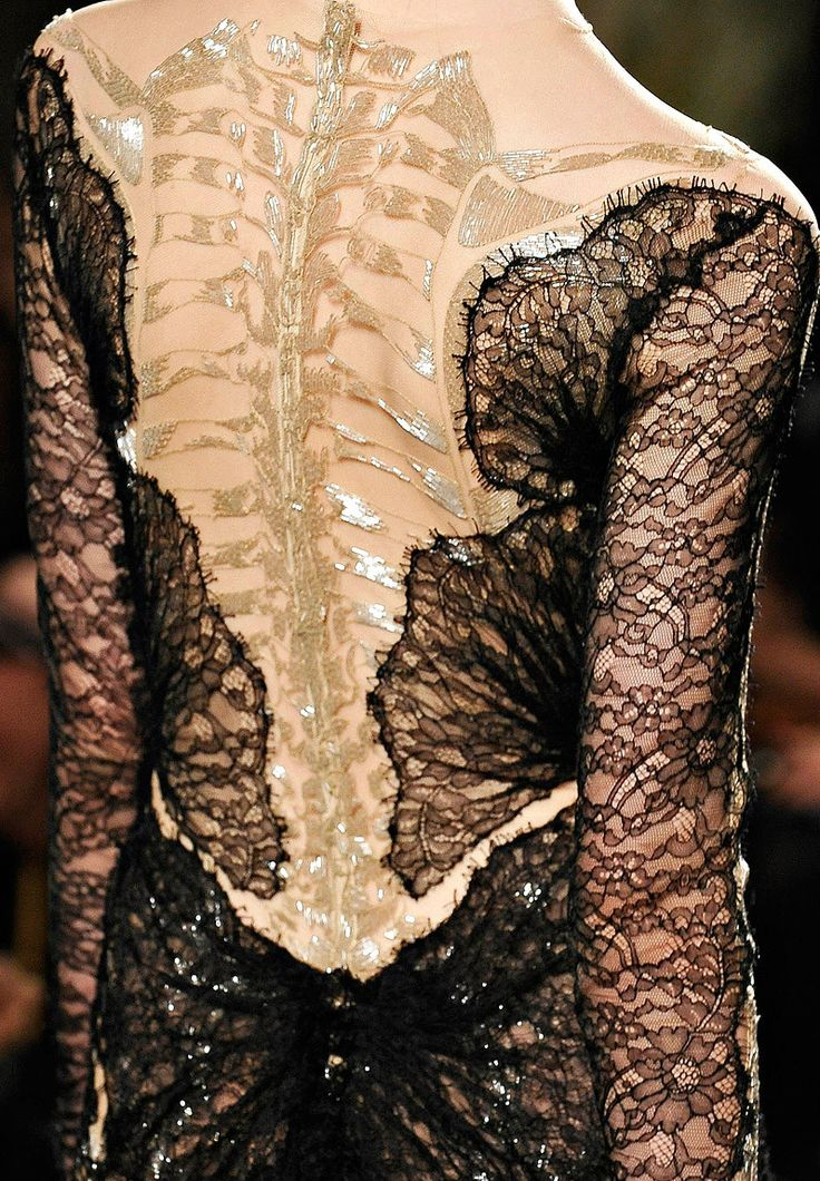Skeleton Spine - dress back detail with an alternative use of lace & beading; closeup fashion details // Marchesa