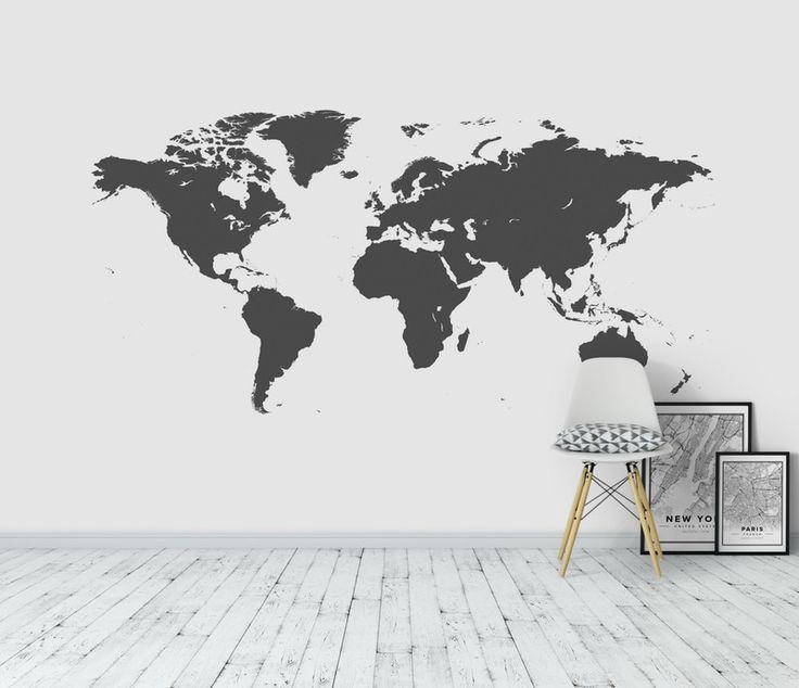 Världen Karta Tryck Konturer fototapet/tapet från Happywall