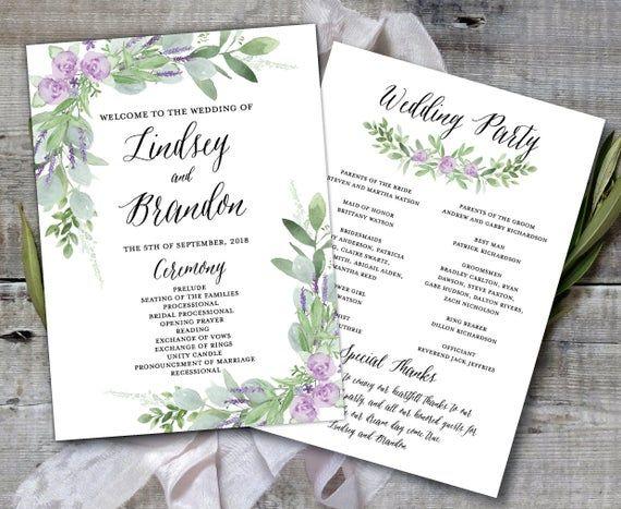 Wedding Program Template Greenery Wedding Program Printable