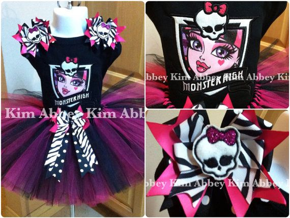 Monster high tutu set Draculaura emblem by Abbeykim1 on Etsy, $55.00