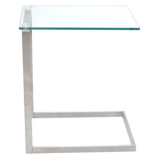 LumiSource Zenn Stainless Steel/ Glass End Table | Overstock.com Shopping - The Best Deals on Coffee, Sofa & End Tables