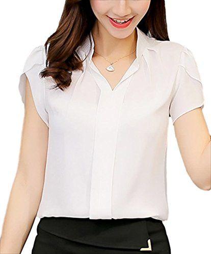 おすすめ (フムフム) fumu fumu レディースファッション トップス ブラウス 白 半袖 オフィス Vネック 大きいサイズ シャツ