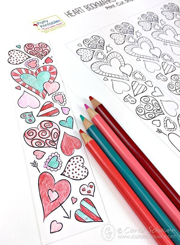 Valentine Heart Bookmarks to Print and Color | Carla Schauer Designs
