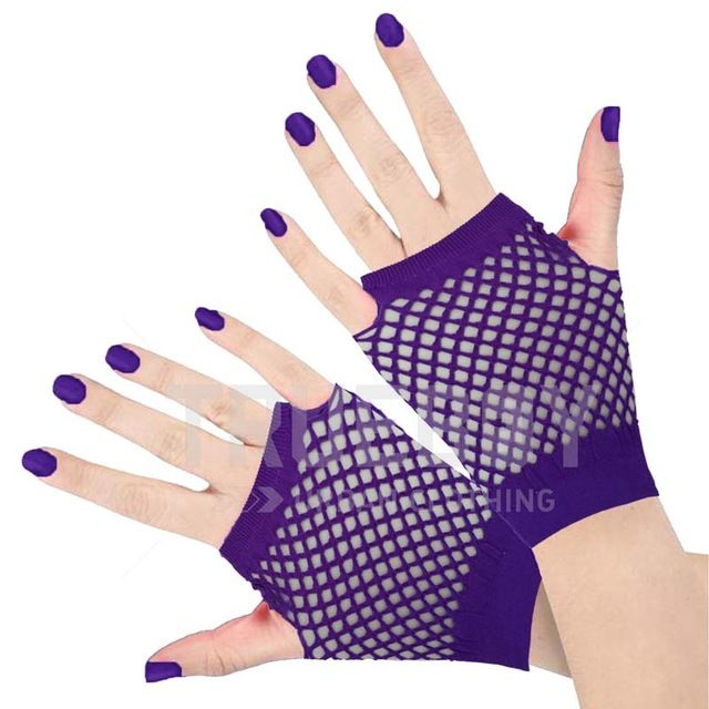 Neon Pink Short Fishnet Hand Gloves Lace Fingerless Punk Emo Party Fancy Dress