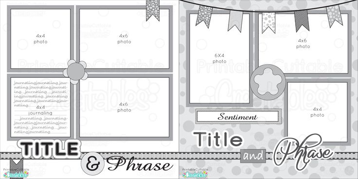 12x12 Two Page Free Printable Scrapbook Layout
