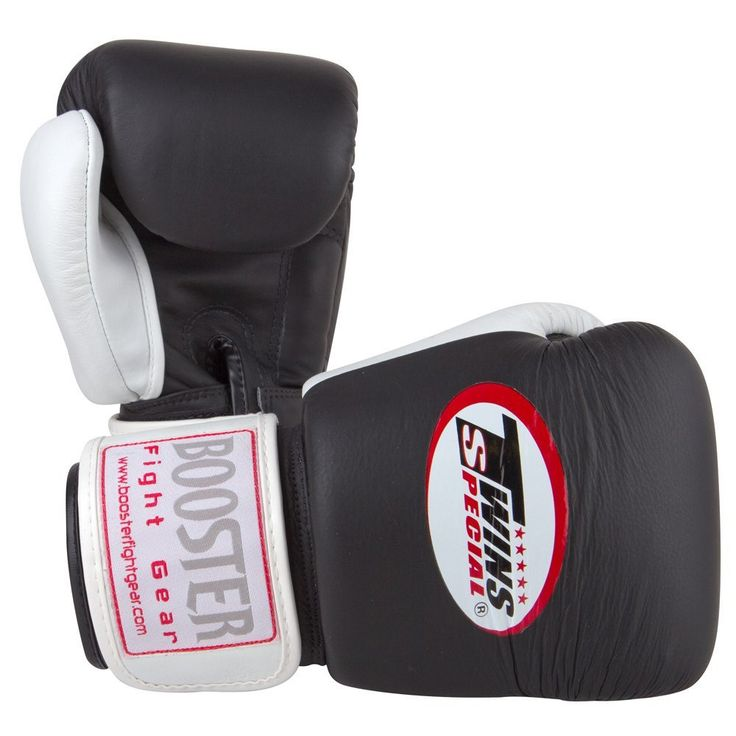 Twins Special Leather Muay Thai Boxing Gloves - Black/White