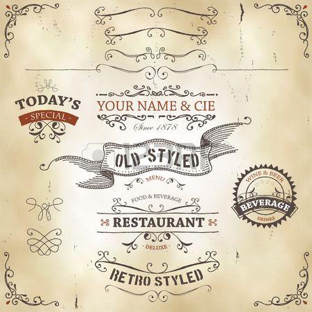 Illustration d'un ensemble de bannières esquissées dessiné à la main, des rubans pour les produits alimentaires, la restauration et la conception de boisson éléments sur l'ouest du fond de cuir