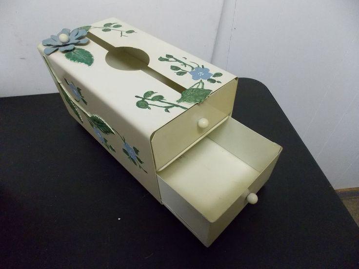 Vintage Unusual 2 Drawer Metal Tissue Box Kleenex Holder Midcentury Floral