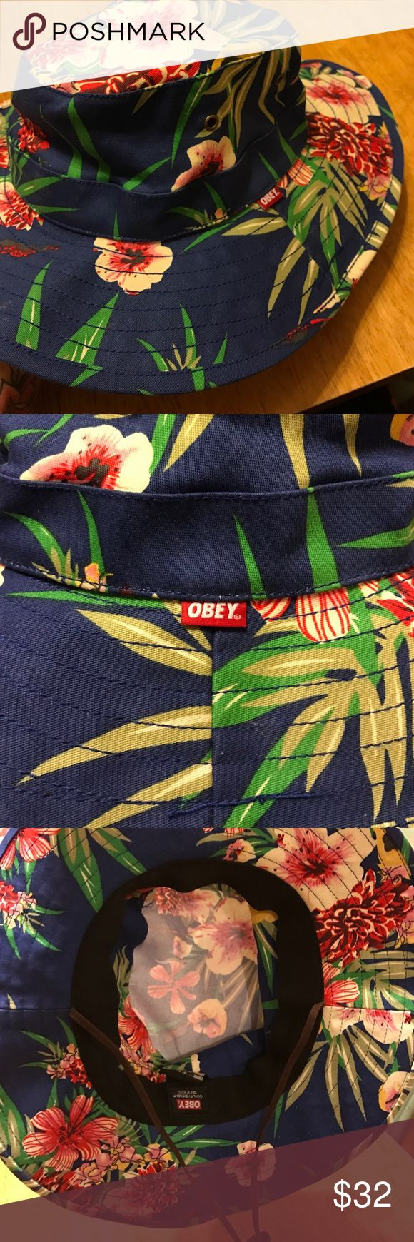 Floral Obey Bucket Hat Obey Floral Bucket Hat With A Strap. Worn once, open to offers! Obey Accessories Hats