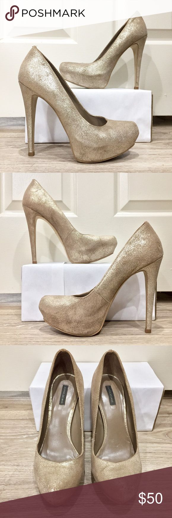 "River Island metallic court Shoe Purchased in Dubai and worn ~5 times, amazing Shoe, and absurdly comfortable for dancing! Color best described as metallic sand, can compliment gold OR silver jewelry. 5"" heel, 1"" platform. Size 40 is US 9. Price firm unless bundled. River Island Shoes Heels"