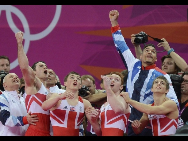 Team GB win stunning bronze in men's team gymnastics. Kristian Thomas (L-R) Sam Oldham, Daniel Purvis, Smith Louis and Max Whitlock .