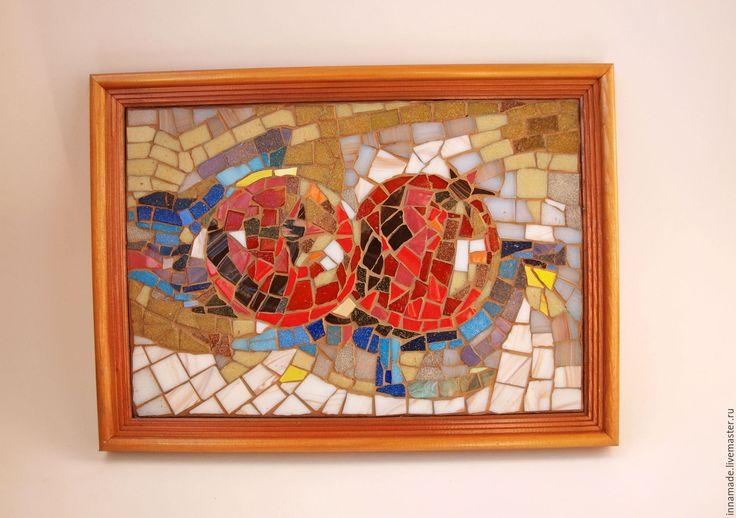 "Купить Мозаика. Картина ""Спелые гранаты"" - ярко-красный, гранат, картина, подарок, мозаика. ripe pomegranates. mosaic"