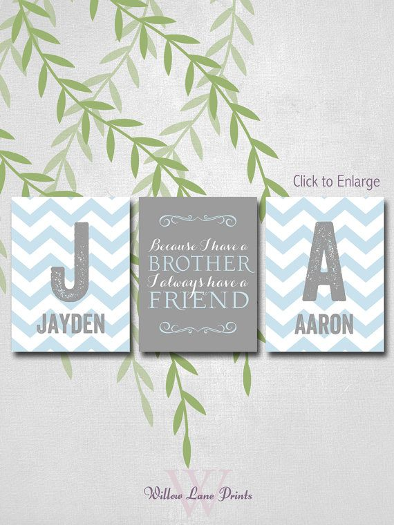 Personalized Brothers Art, Chevron, because I have a brother, Twin Boys Nursery Decor, Wall Art, Blue and Gray Monogram Bedroom Decor on Etsy, $43.00
