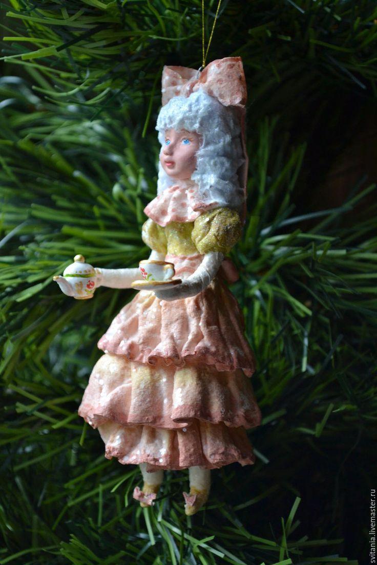 Купить Ватная елочная игрушка Мальвина - ватная игрушка, ватное папье-маше, елочные игрушки
