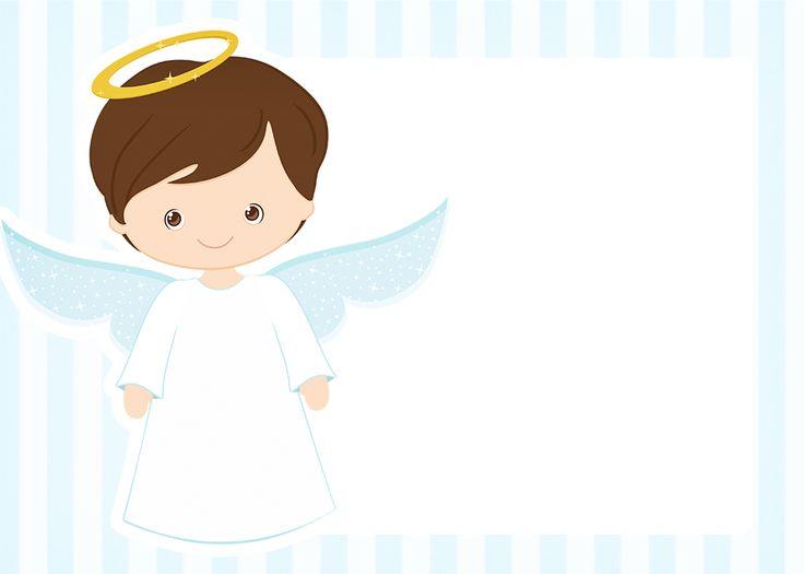 Convite 4 Batizado Azul Claro