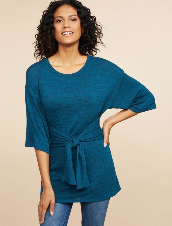 0fbf00d2deec1 Lift Up Tie Front Nursing Top, Dark Teal | Maternity Necessity ...