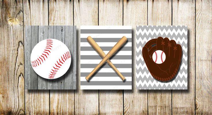 Vintage baseball set, baseball wall prints, nursery baseball ball,gray-white baseball wall decor, sport art for boys room, baseball bats art by Happysweetprint on Etsy
