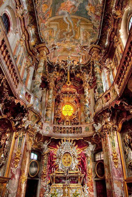 Baroque architecture inside Asamkirche in Munich, Germany