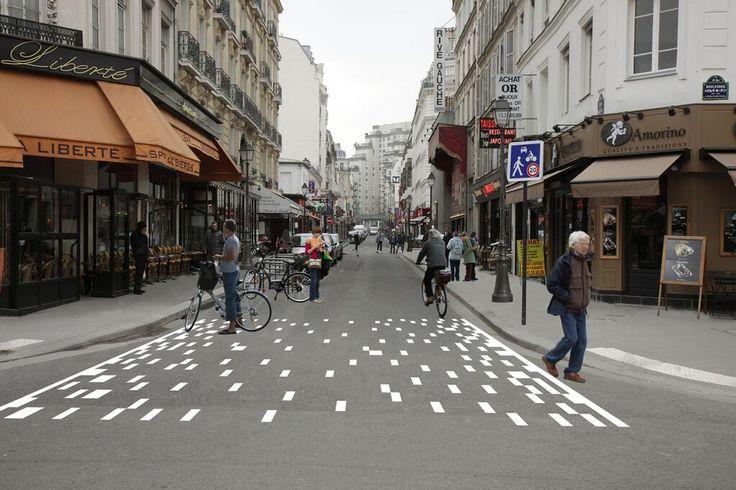 Pixelated pedestrian crossing proposal in Paris.