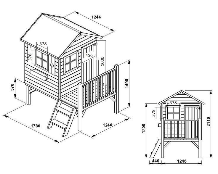 Maisonnette bois pilotis avec toboggan - cabane enfants - charlotte - OOKID Alix - En vente sur oogarden.com