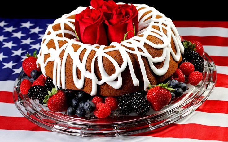 Фото Пирог США Розы Флаг Ежевика Клубника Продукты питания Сладости штаты Еда Пища