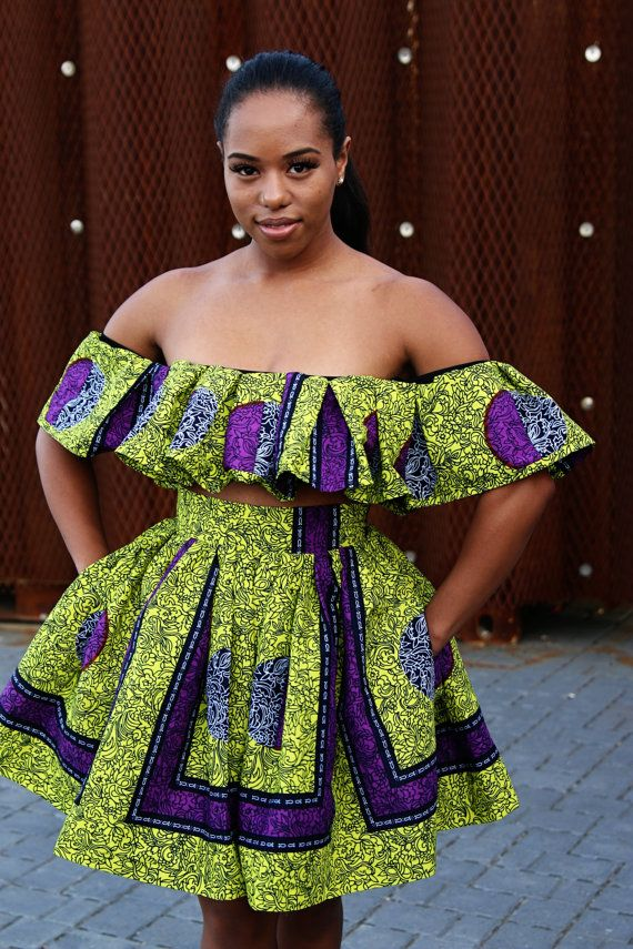 Evelyn 2 Piece Off Shoulder Top and Gather Skirt by ADUKECOUTURE