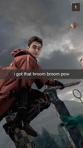 28 Snapchats From Harry Potter laughed out loud on the red line. People hate me, but snitches ain't me.