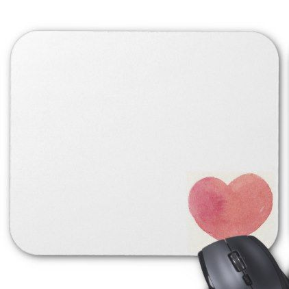 #Sunset Soft Rose Pink watercolor heart custom Mouse Pad - #office #gifts #giftideas #business