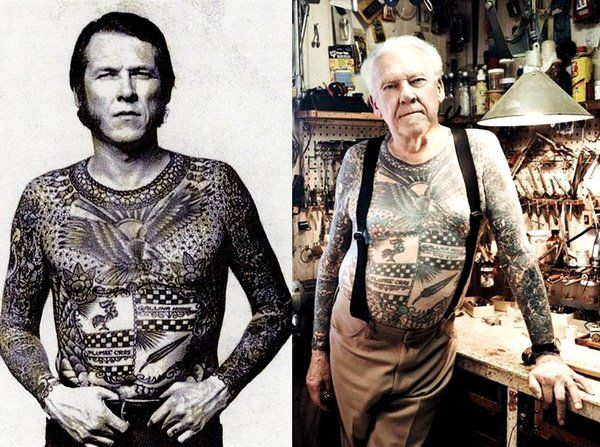 "- ""What are you gonna look like when you're 60 with all those tattoos?""     - ""Fucking bad ass"" :)    love."