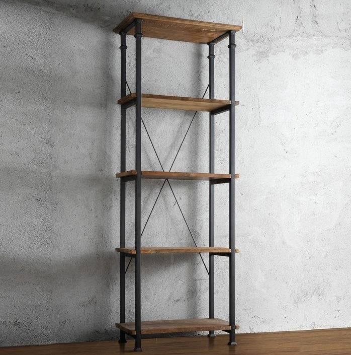 Solid Wood Bookshelf Reclaimed Look Wrought Iron Rugged Farm Industrial Bookcase