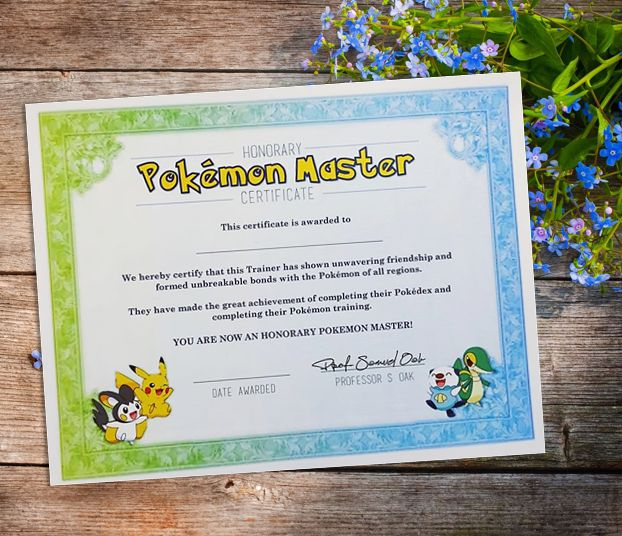 Pokemon Master Certificate Party Favour Birthday Gift Via