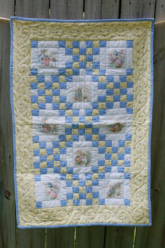 Beatrix Potter Baby Quilt Handmade With Blue And Yellow