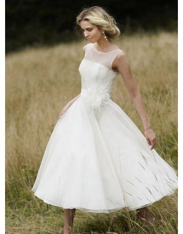 Scoop Eenvoudig Thee Lengte Organza Korte Bruidsjurken