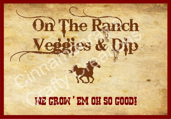 Rustic Western Themed Party Food Labels