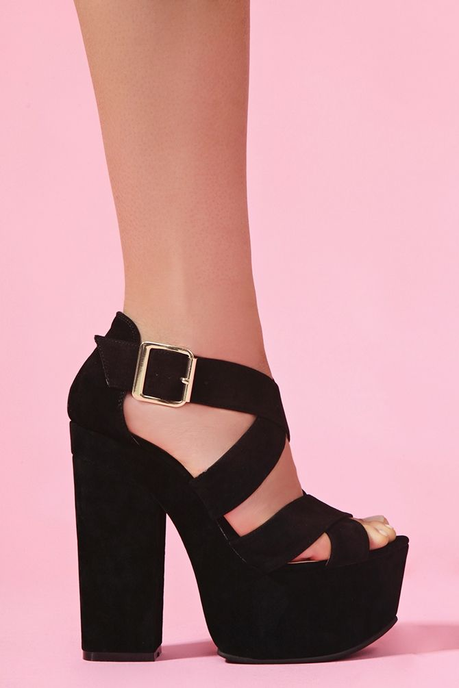 black faux suede platforms
