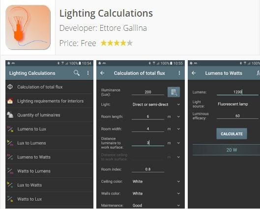 Lighting calculations: Calculation of total flux [PRO] Lumens to Lux Lux to Lumens Lumens to Watts Watts to Lumens Lux to Watts Watts to Lux Lumens to Candela Candela to Lumens Candela to Lux Lux to Candela Lux / Foot-Candle [PRO] Compare power Luminance converter [PRO] Illuminance converter [PRO] Type of lamps [PRO] Lamp fittings [PRO] Bulb shapes Table luminous efficacy [PRO] Color temperature Visible spectrum Fluorescent tubes [PRO] Color codes of fluorescent tubes [PRO] Power factor…