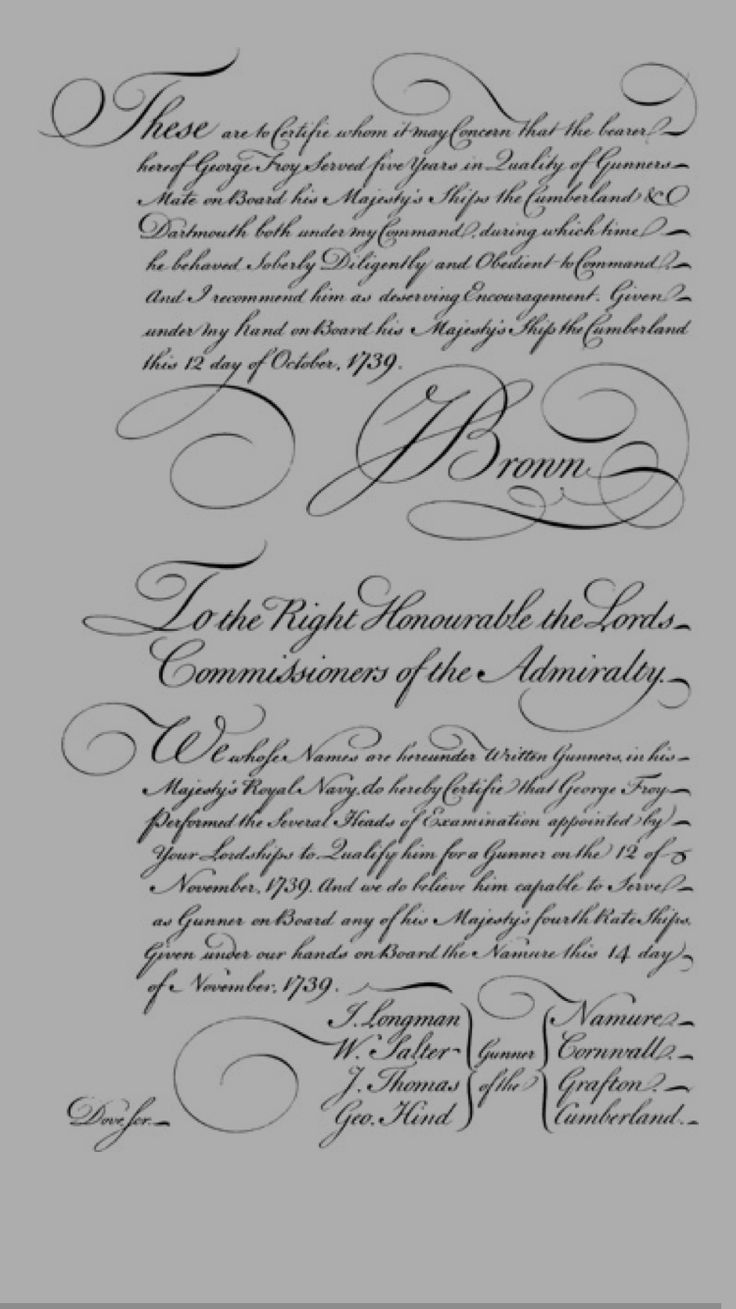 Copperplate calligraphy example from George Bickham's The Universal Penman (London, 1733–1741)