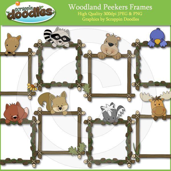 Woodland Peeker Frames Download - $3.50 : Scrappin Doodles, Creative Clip Art, Websets & More