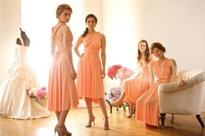 bridesmaids all same convertible dress worn different ways