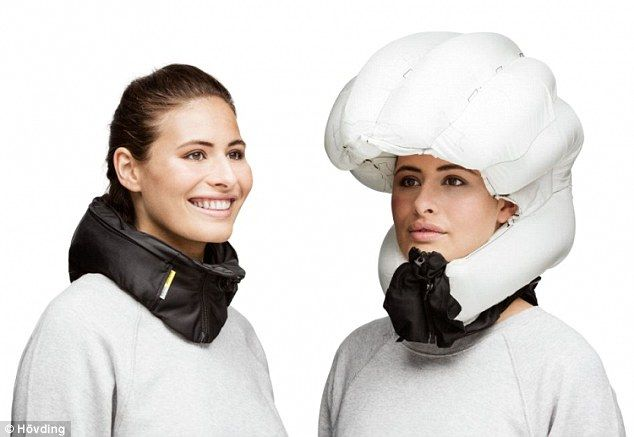 Airbag 'helmets' are already commercially available from companies like Hövding (pictured). The airbag is contained in a collar that features algorithms that detect sudden movements of the head in a crash and deploy the airbag in a fraction of a second