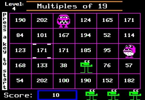 Number munchers! Was always so excited to go to the computer lab, just to play this game!