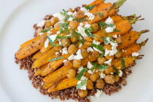 Roasted Carrot and Chickpea Salad with Harissa and Quinoa